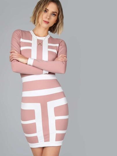 Geo Stripe Sleeved Bodycon Dress MAUVE IVORY