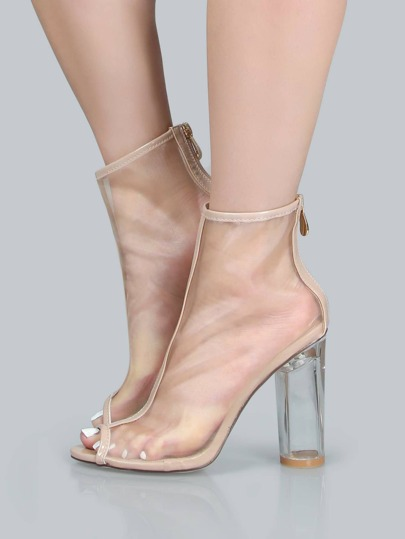 Peep Toe Mesh Ankle Boots NUDE