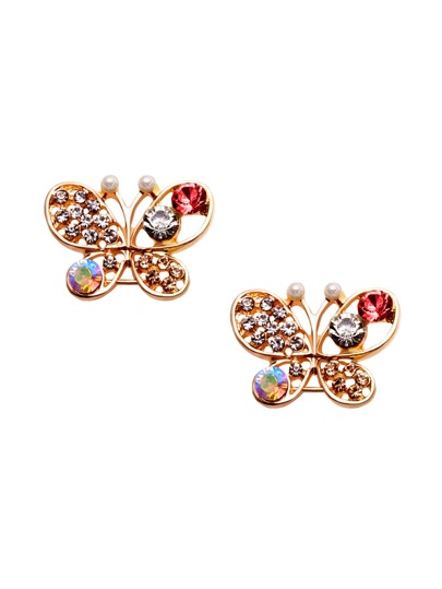Gold Rhinestone Encrusted Cutout Butterfly Ear Studs