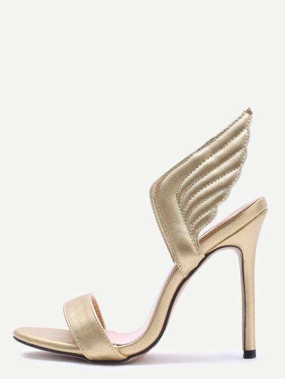 Zapatos de tacón alto con alas - dorado