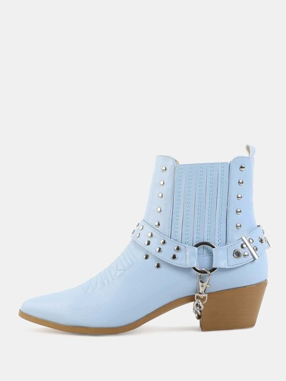 Pastel Pointed Toe Studded Boots LIGHT BLUE