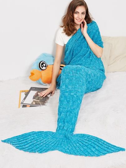 Blue Marled Knit Strukturierte Meerjungfrau Schwanz Decke