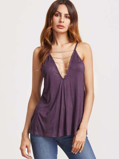 Violet col en V Strappy col Back Swing Cami Top