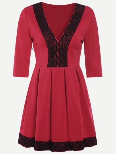 Red Contrast Lace V Neck Pleated Dress