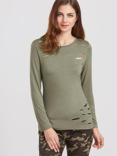 Army Green Long Sleeve Ripped T-shirt