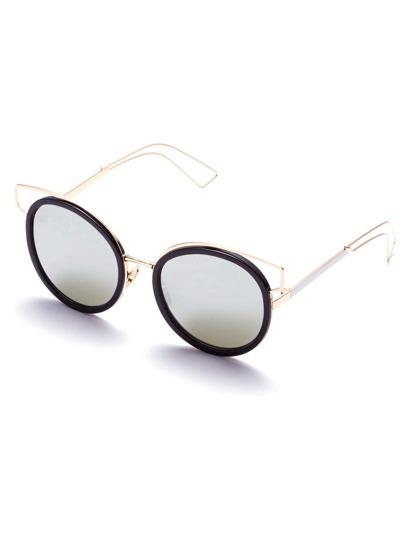 Noir, métal, cadre, coupure, lunettes soleil