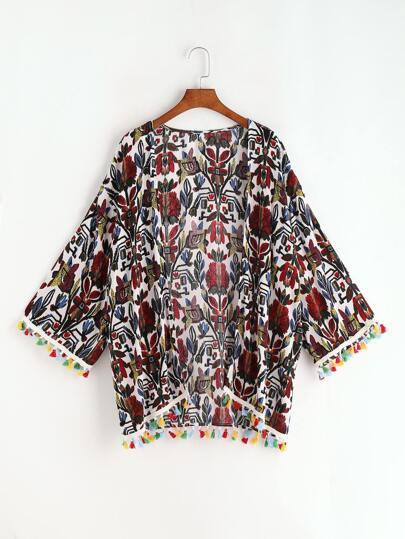 Multicolor Tassel Trim Vintage Print Kimono