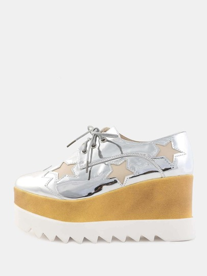 Metallic Contrast Wedge Sole Sneakers SILVER