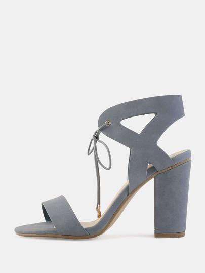 Cut Out Ankle Chunky Heels DUSTY BLUE