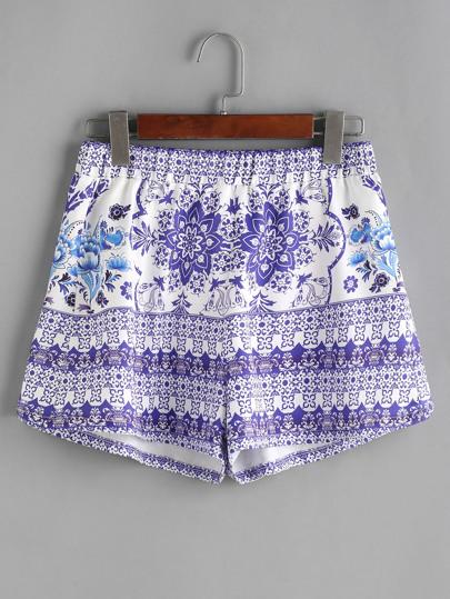 Shorts con estampado de vintage cintura elástica - azul blanco