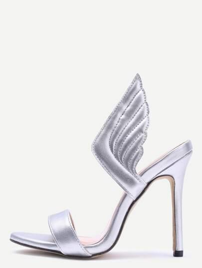 Zapatos de tacón alto con alas - plateado