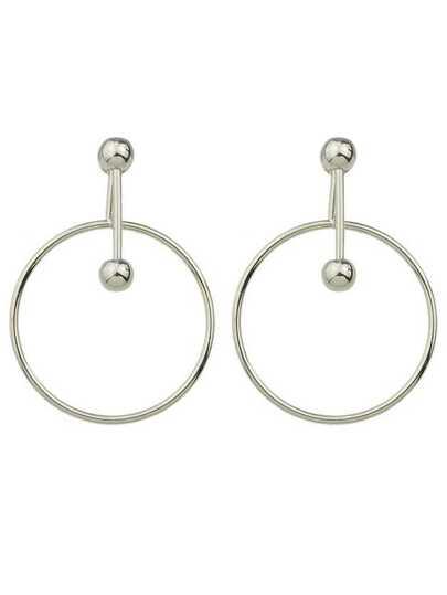 Punk Rock Silver Color Big Circle Dangle Earrings