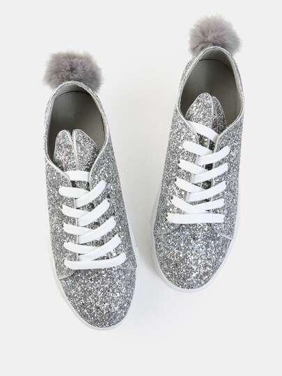 Glitter Bunny Ears Sneakers SILVER