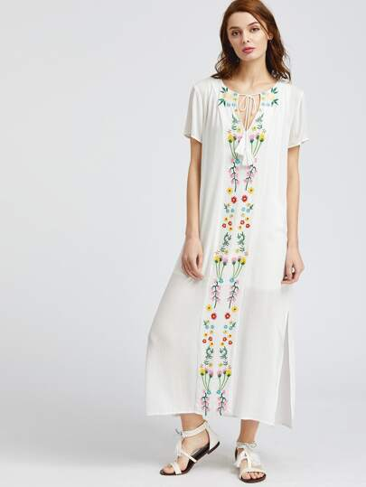 White Tassel Tie Neck Embroidered Dress Set
