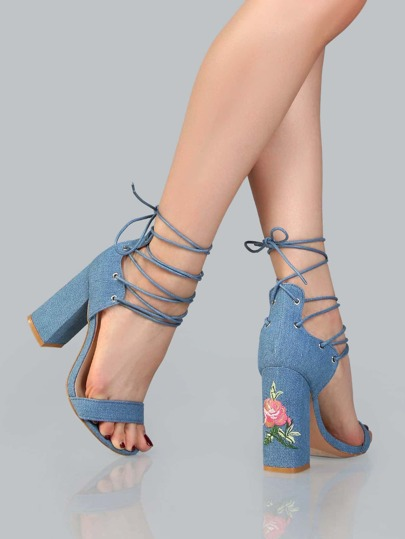 Floral Embroidered Denim Lace Up Heels DENIM