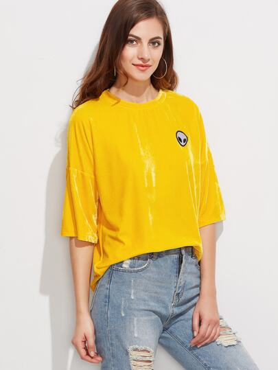 Yellow Drop Shoulder Velvet T-shirt With Alien Patch