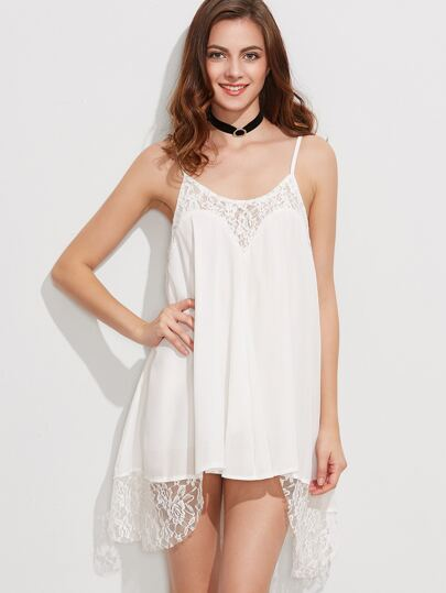 White Lace Trim Cami Dress