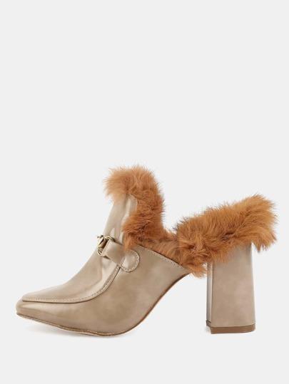 Square Toe Fur Chunky Heels KHAKI