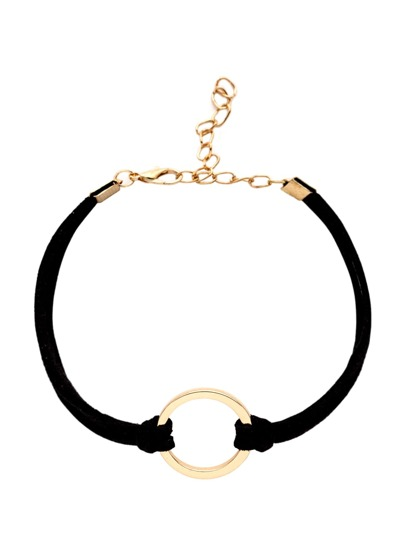 Black Round Charm Suede String Bracelet