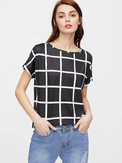 Black Grid Short Sleeve T-shirt