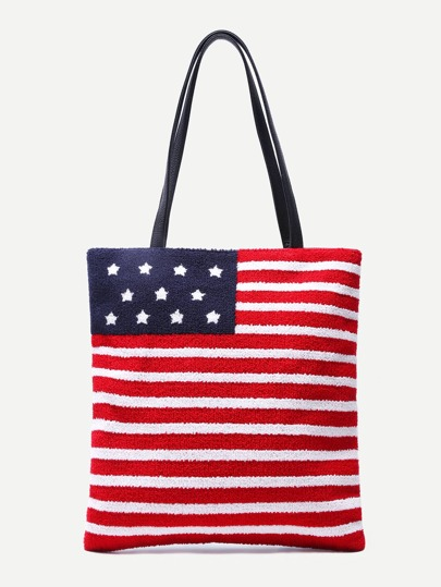 American Flag Pattern PU Tote Bag