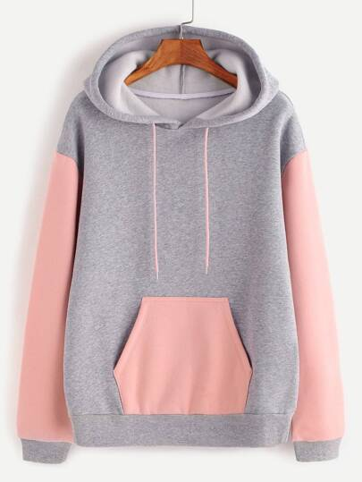Heather Grey Contrast Sleeve And Pocket Hoodie