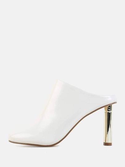 Metallic Heel Backless Mules WHITE