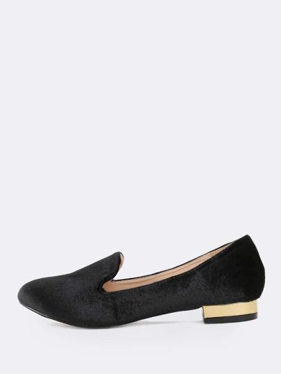 Metallic Heel Velvet Loafers BLACK