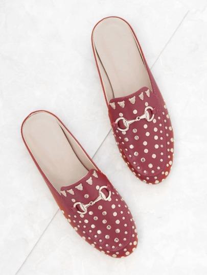 Loafers Abbelliti Borchie - Rosso Oro