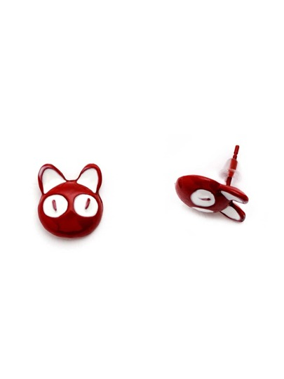 Orecchini Forma Orecchi Di Gatto Con Smalto - Rosso