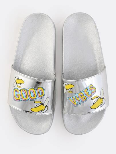 Metallic Banana Slide Sandals SILVER