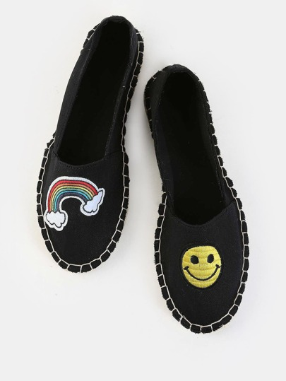 Smiley Face Canvas Espadrille Flats BLACK