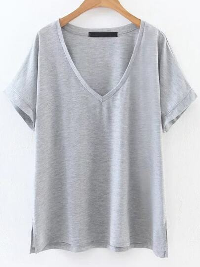 Grey V Neck Side Slit Tee