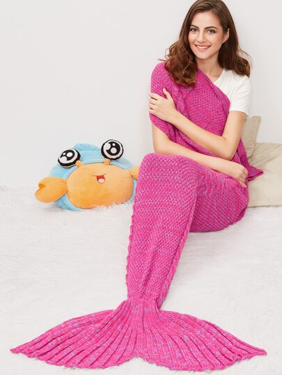 Hot Pink Marled Kabel Strick Meerjungfrau Schwanz Decke