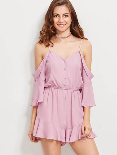 Pink Cold Shoulder Button Front Ruffle Romper