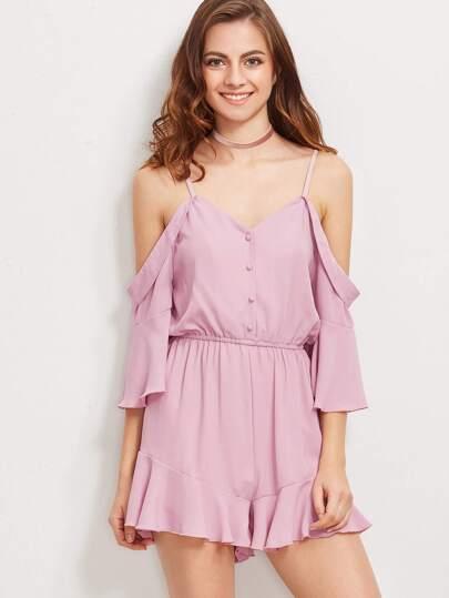 Розовый модный комбинезон со сборкой и открытыми плечами