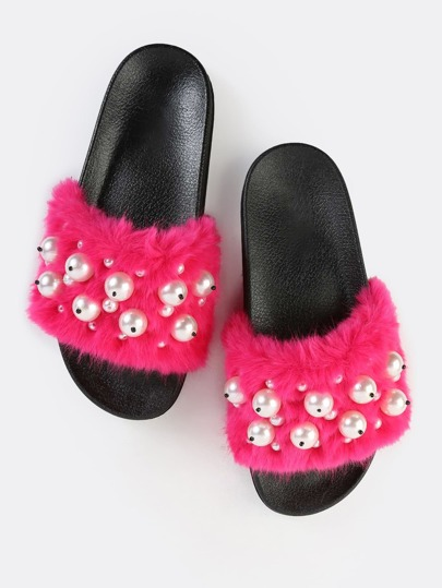 Furry Faux Pearl Sandals FUCHSIA