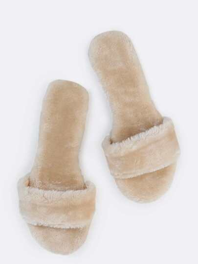 Open Toe Fur Slide Sandals NUDE