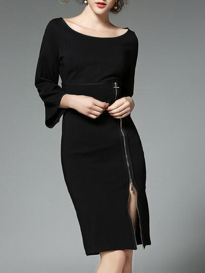 Black Bell Sleeve Zipper Split Sheath Dress