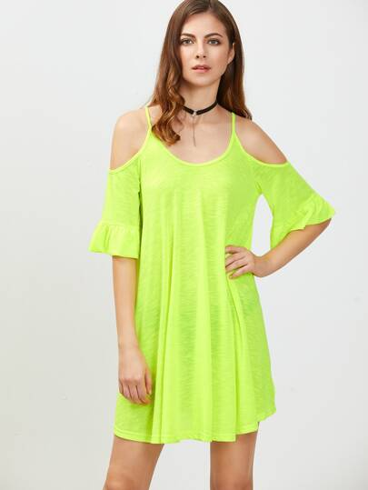 Neon Green Cold Shoulder Ruffle Cuff Dress