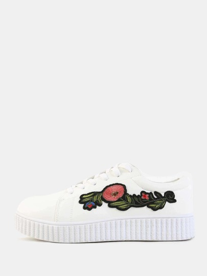 Floral Embroidered PlatformSneakers WHITE
