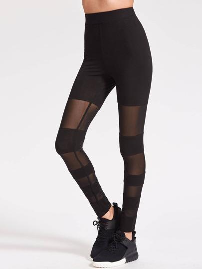 Black Striped Mesh Leggings