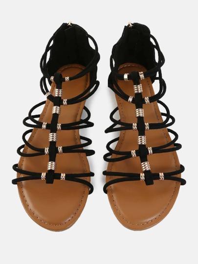 Metallic Accent Gladiator Sandals BLACK