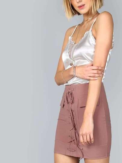Tailored Strap Up Mini Skirt DARK MAUVE