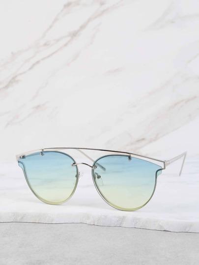 Ombre Lens Crossbar Sunglasses GREEN