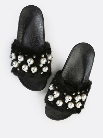Faux Pearl Fur Slide Sandals BLACK