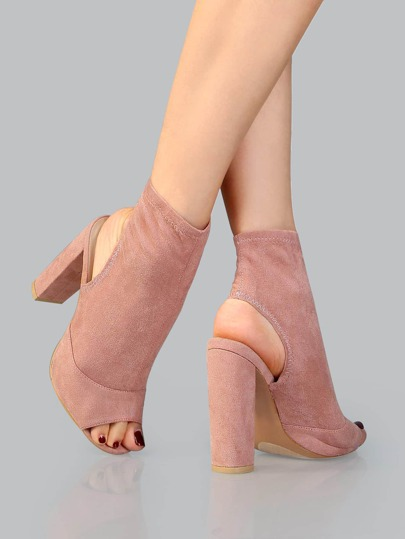 Peep Toe Faux Suede Booties BLUSH