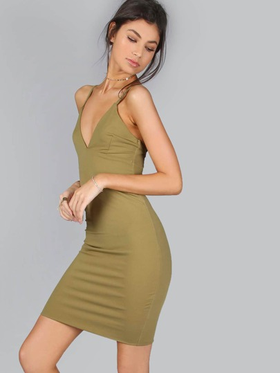 Slinky Spaghetti Strap Dress OLIVE