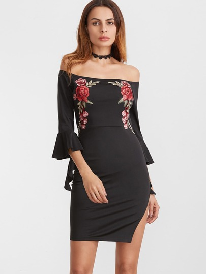 Black Embroidered Rose Applique Off The Shoulder Ruffle Sleeve Dress