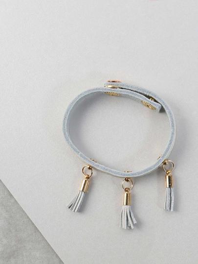 Tassel Faux Leather Bracelet WHITE